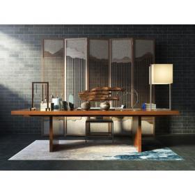 中式书房屏风台灯3d模型免费下载