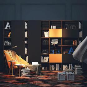 现代书柜书架3d模型免费下载