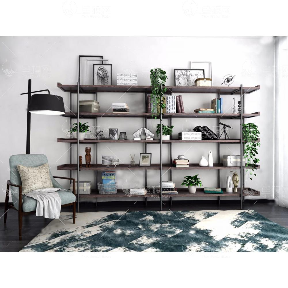北欧书架花架单椅组合3d模型