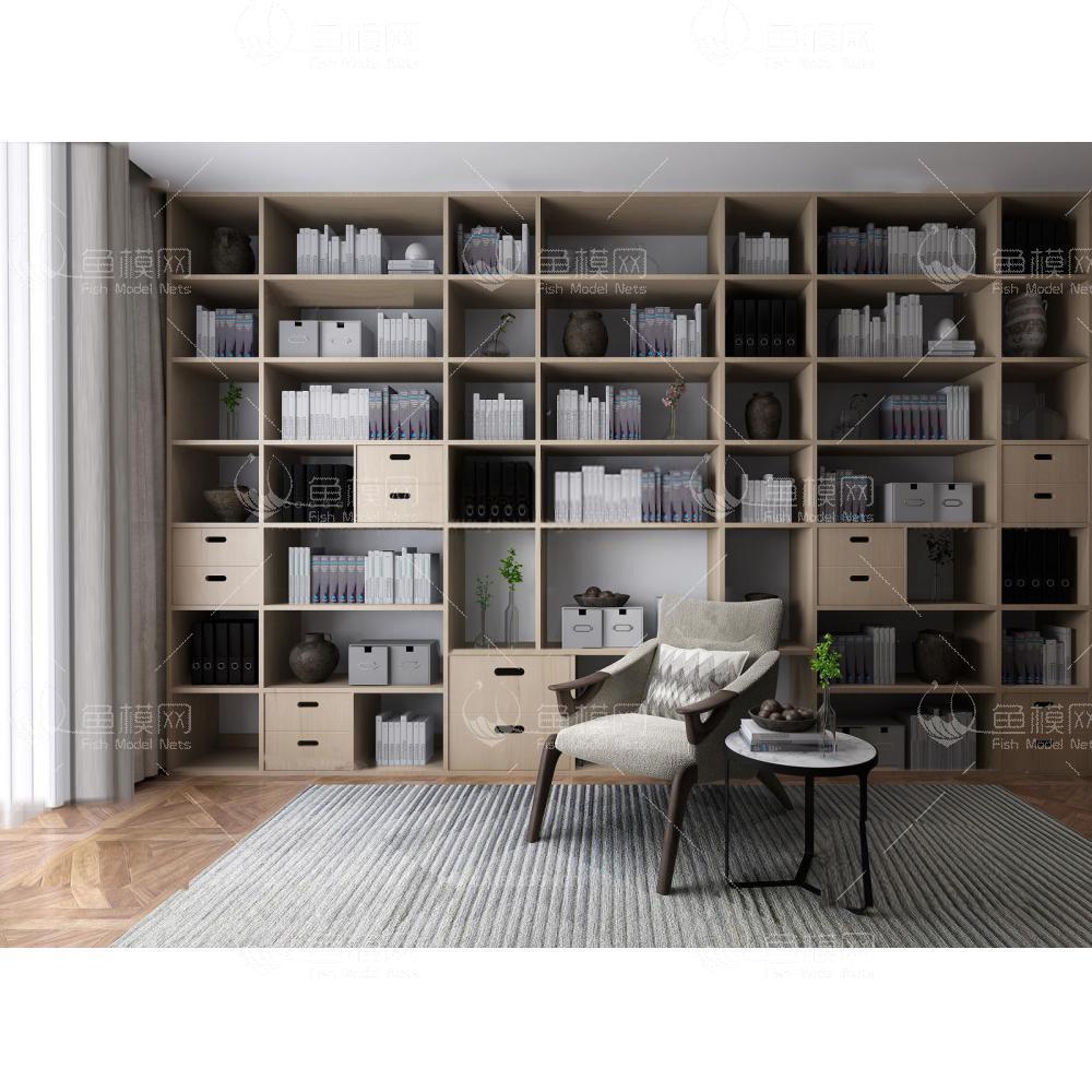 北欧书架休闲椅组合3d模型
