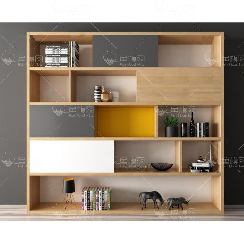 北欧书柜组合3d模型