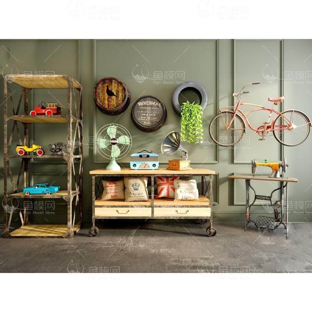 复古怀旧文艺风饰品柜子组合3d模型