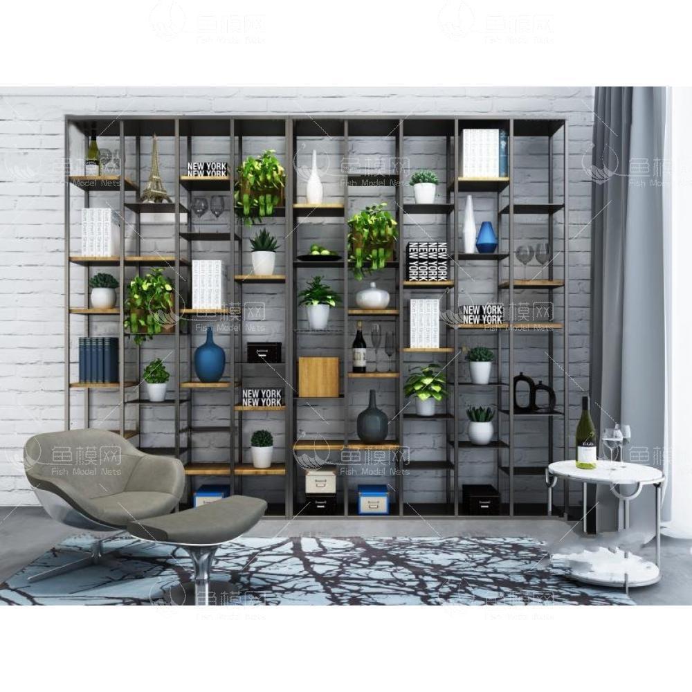 现代铁艺书架花单椅组合3d模型