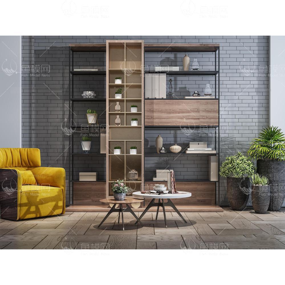 现代装饰柜架休闲椅盆栽组合3d模型