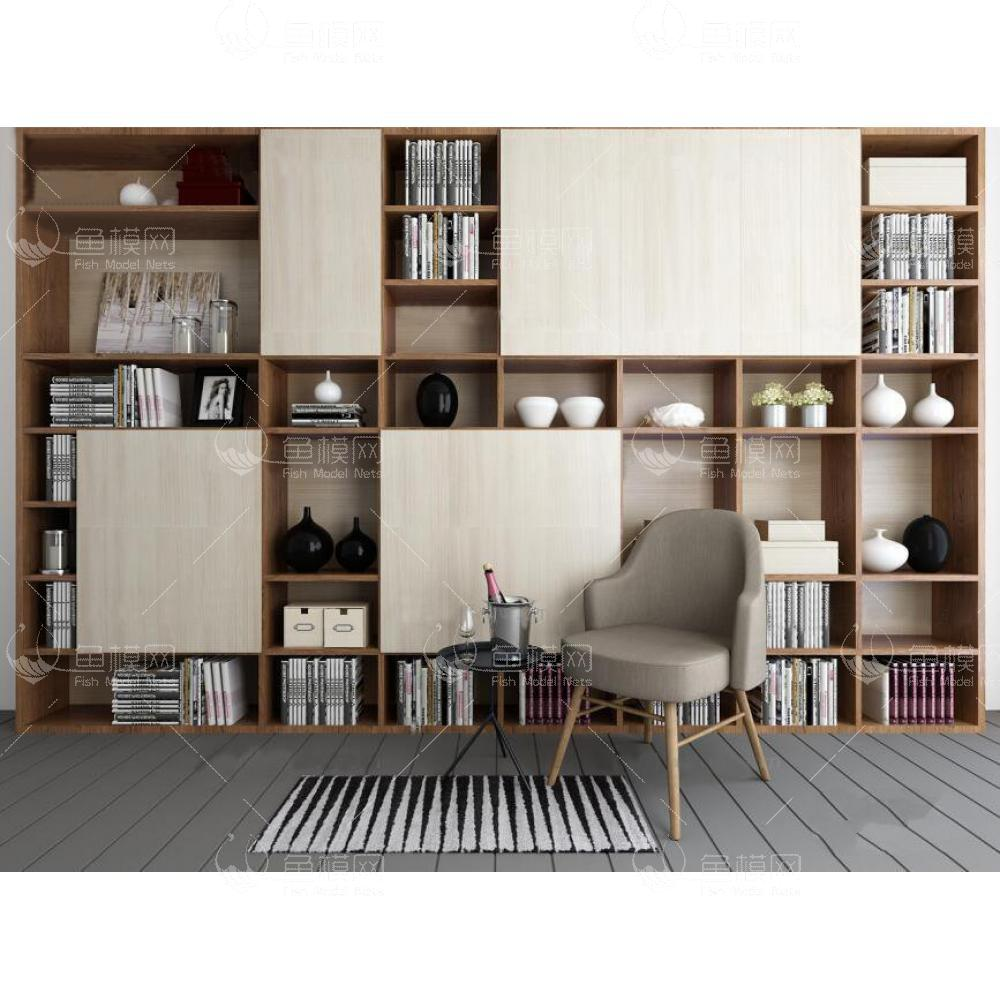 现代装饰柜书架休闲椅组合3d模型