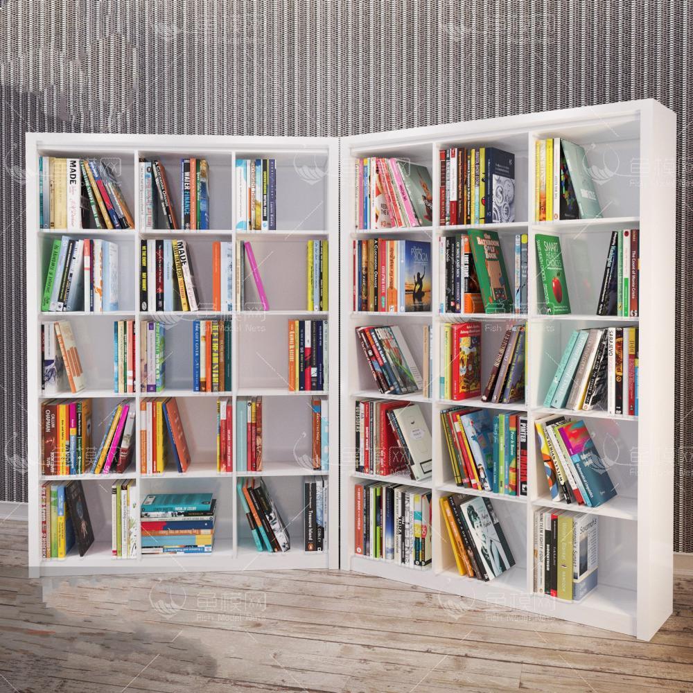 转角书架书籍3d模型
