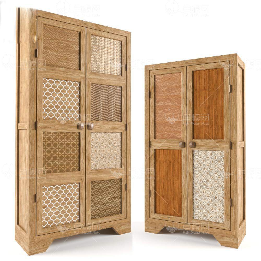 实木原木装饰收纳柜3d模型