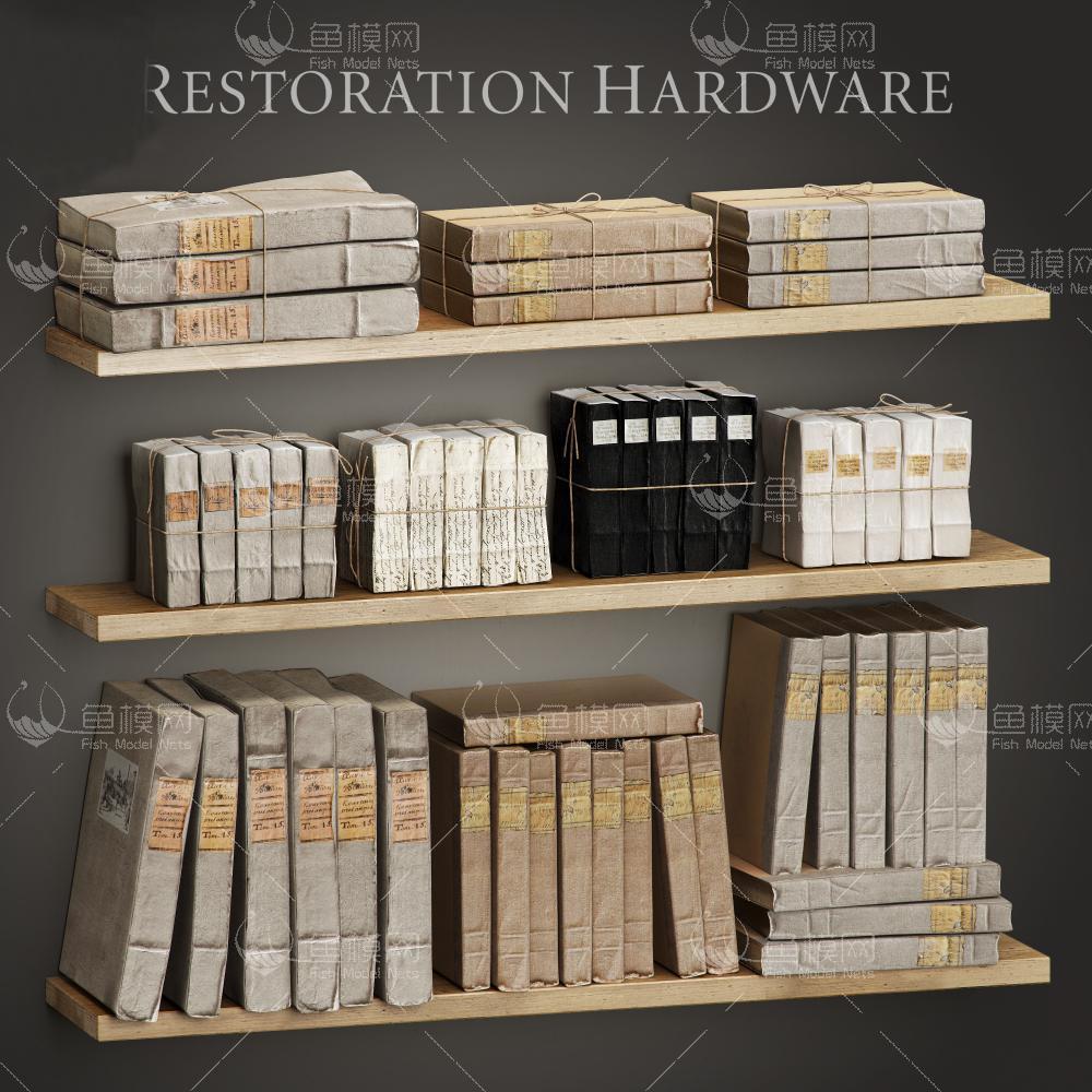 书籍书架复古3d模型