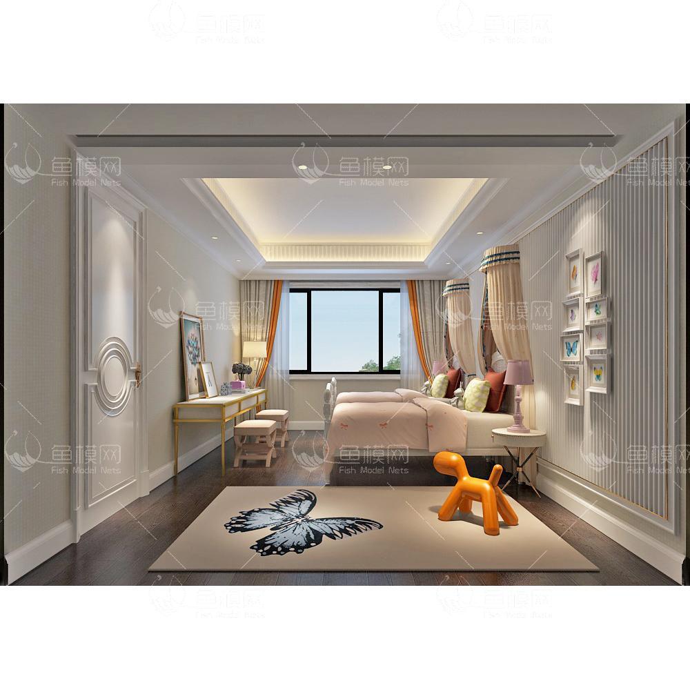 蝴蝶地毯儿童房3d模型