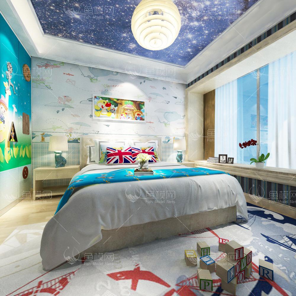 蓝色男孩房3d模型