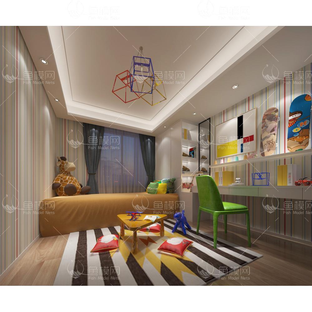 现代风格儿童房 (1)3d模型