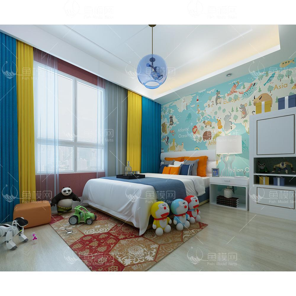 现代风格儿童房 (12)3d模型