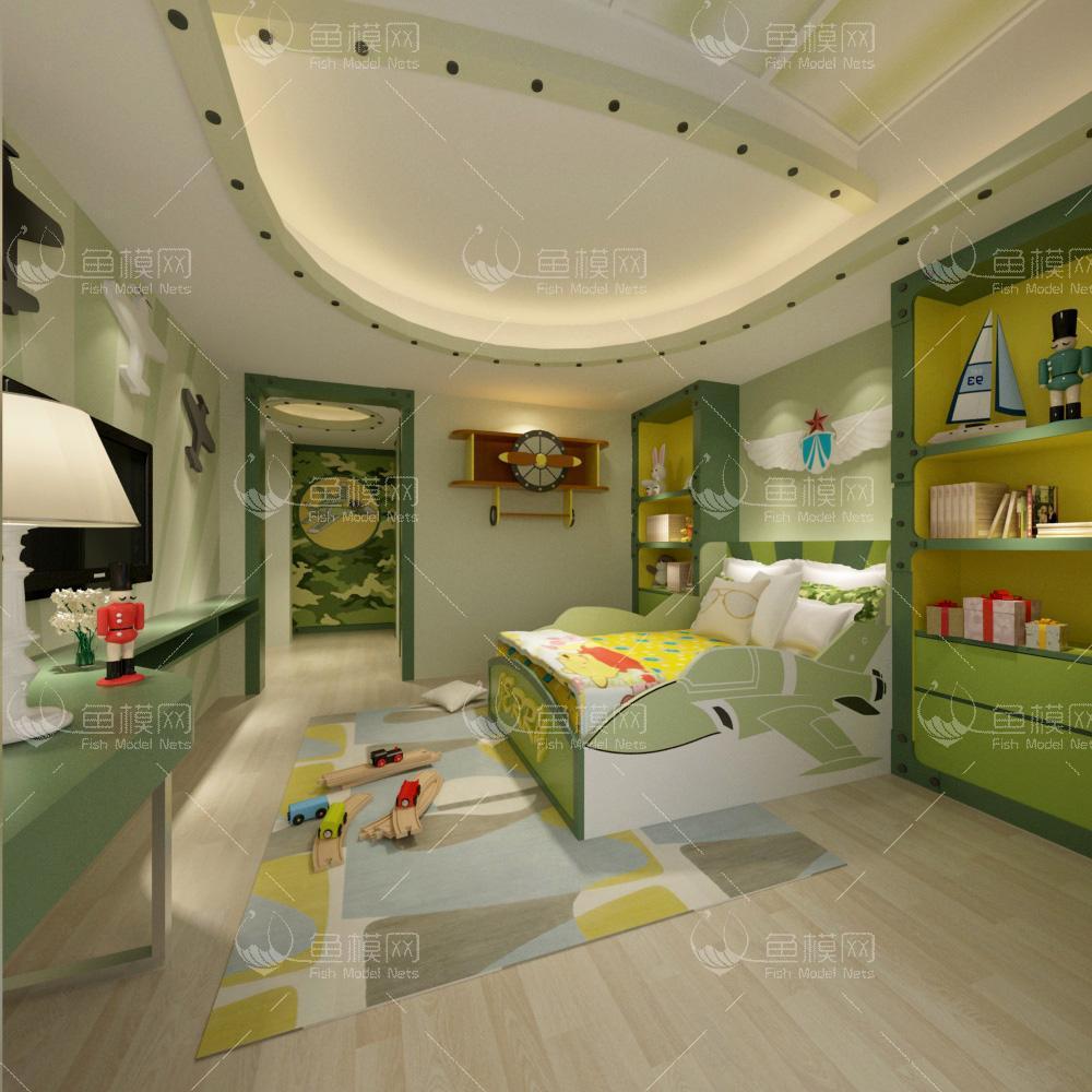 现代风格儿童房 (5)3d模型