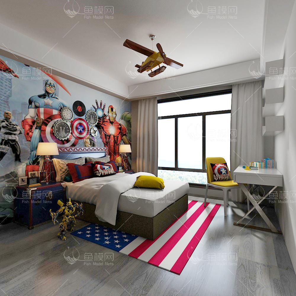 美式风格儿童房 (5)3d模型