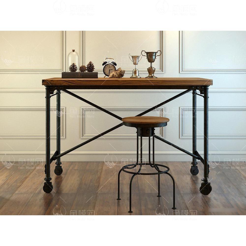 工业风书桌椅 (1)3d模型