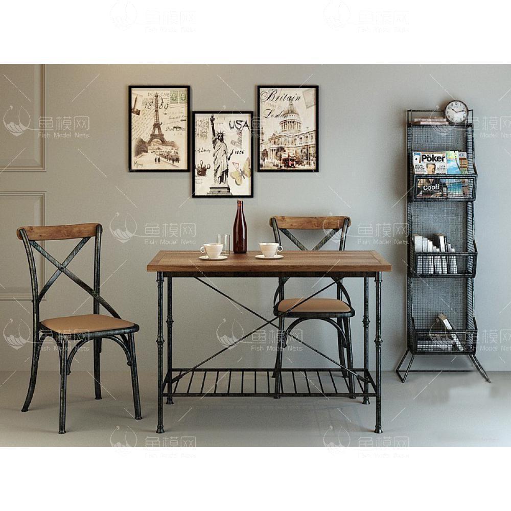 工业风书桌椅 (2)3D模型下载-[ID]19358