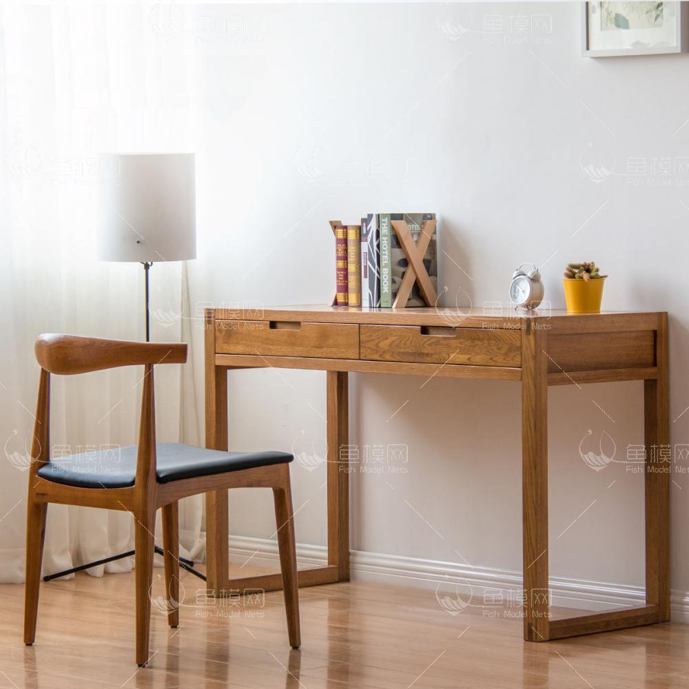 纯木简约书桌椅  (2)3d模型