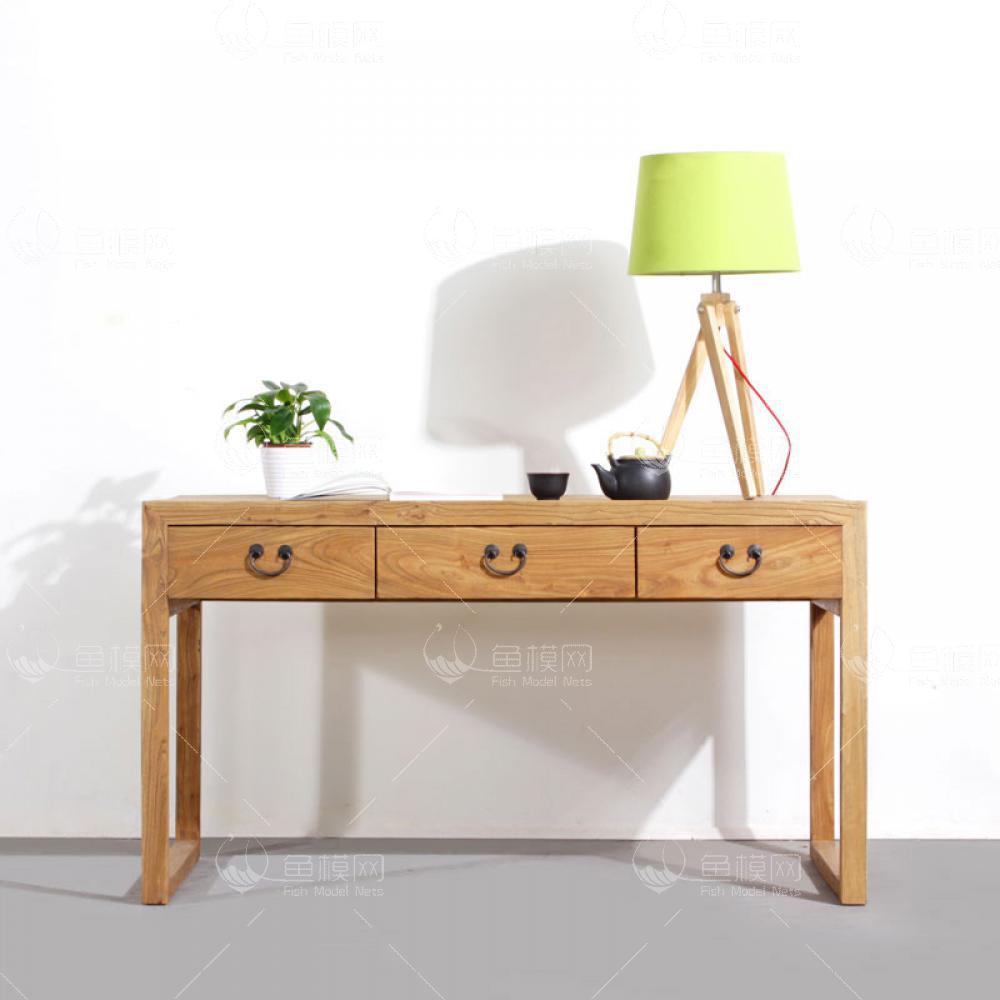 纯木简约书桌椅  (4)3d模型