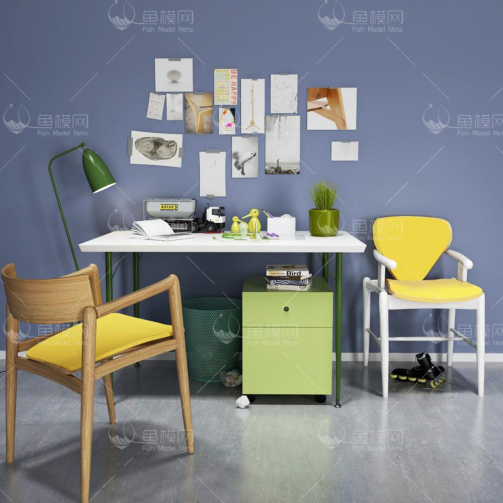 现代书桌椅 (1)3d模型