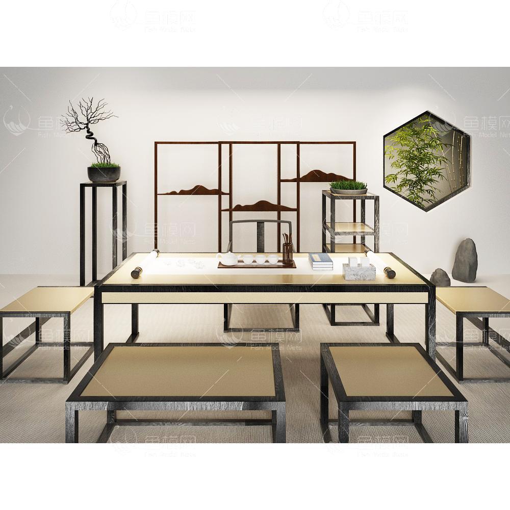 现代新中式书桌椅组合3d模型