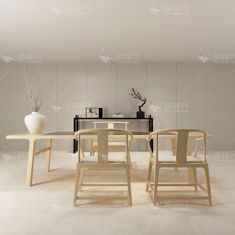 新中式书桌餐桌椅组合3d模型