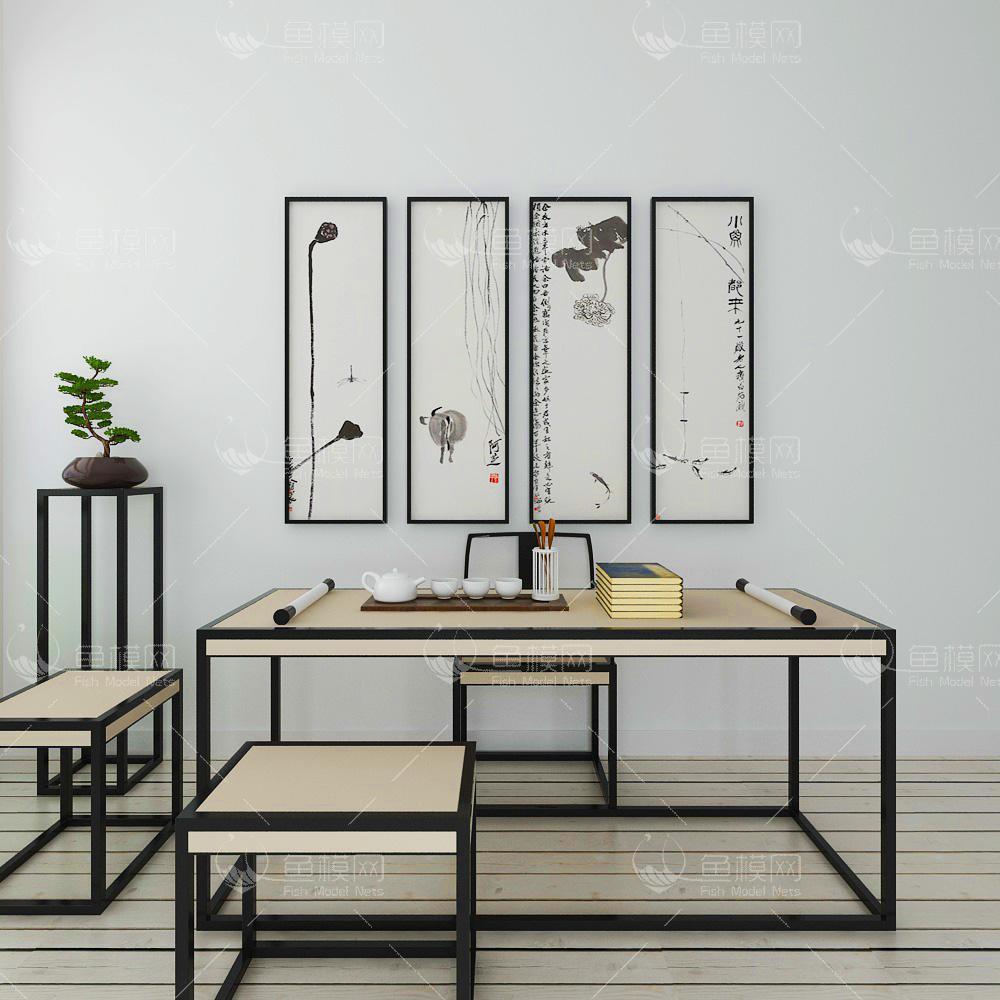 新中式书桌椅挂画组合、3d模型