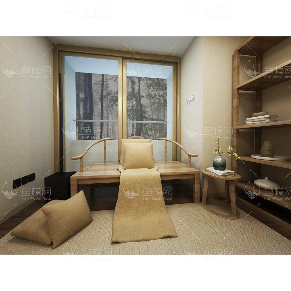 禅意新中式书房一角3d模型