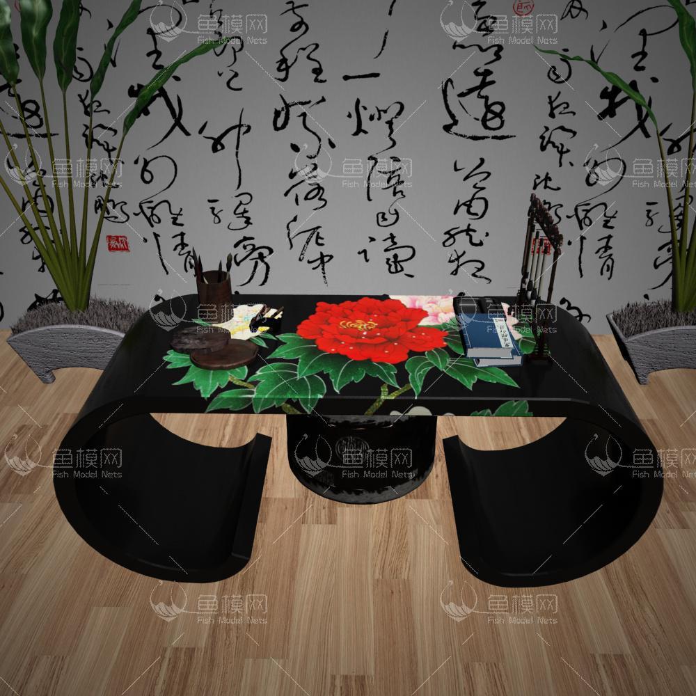 中式彩绘书桌3d模型