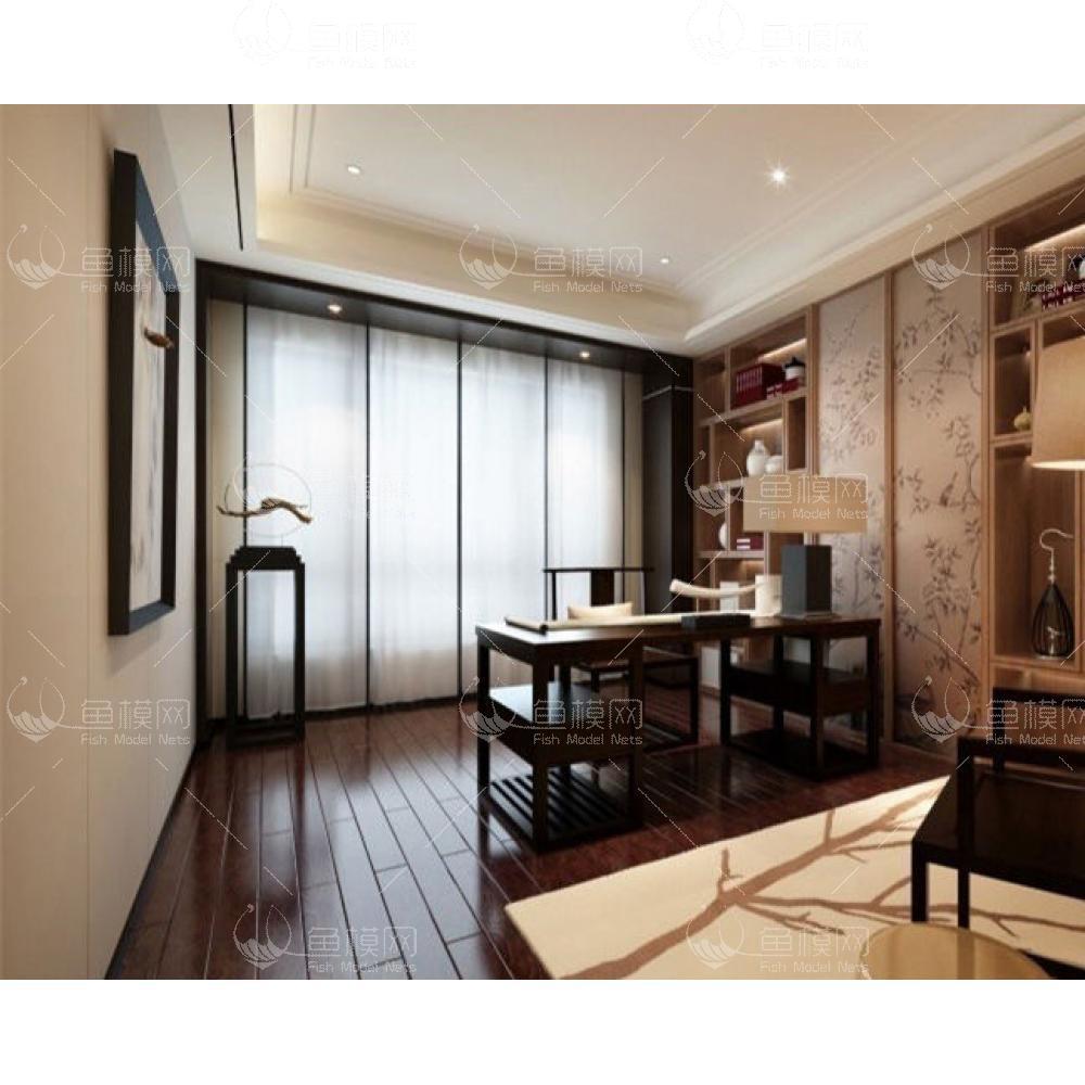 中式书房书桌椅落地灯组合3d模型