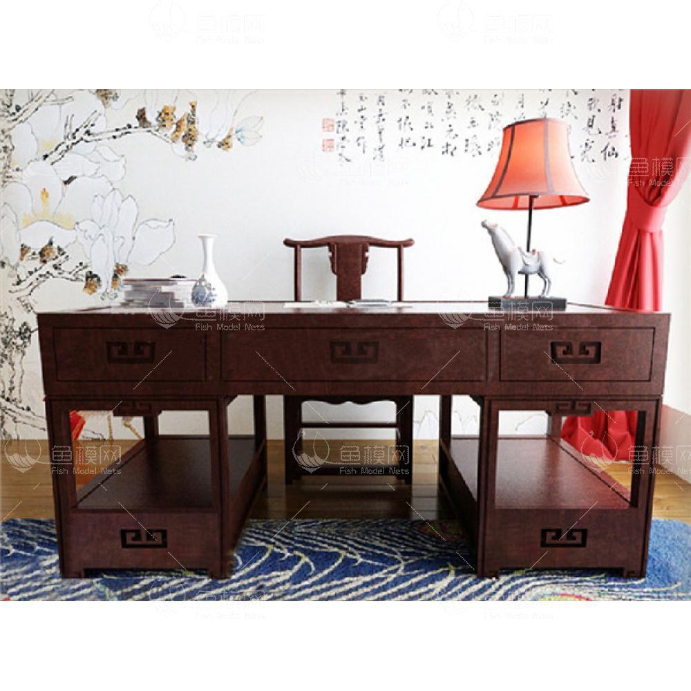 中式书桌组合13d模型