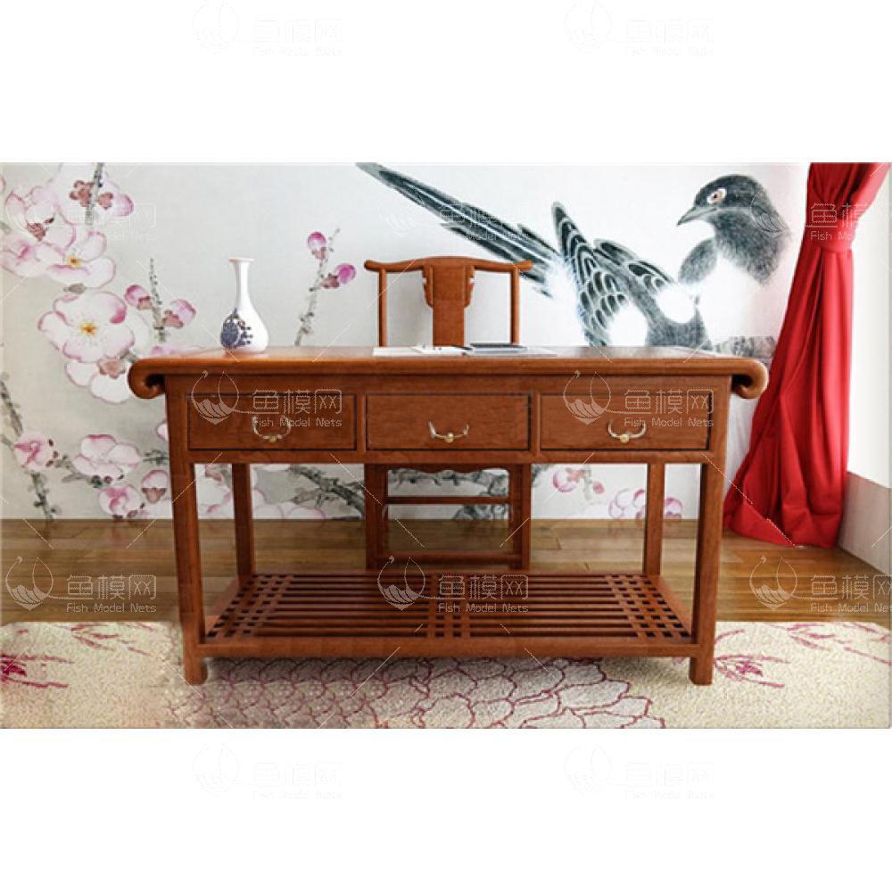 中式书桌组合23d模型