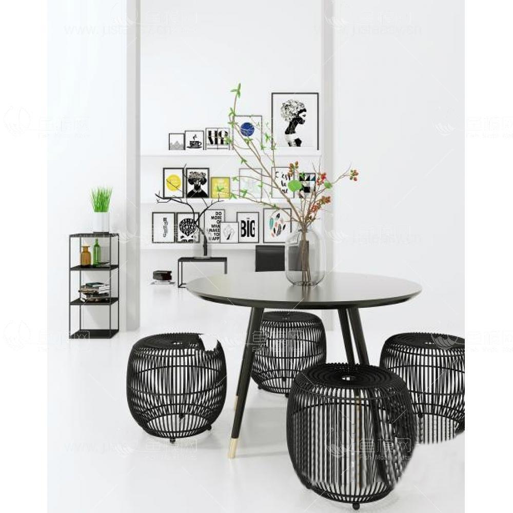 北欧桌椅装饰画北欧桌椅装饰画3d模型