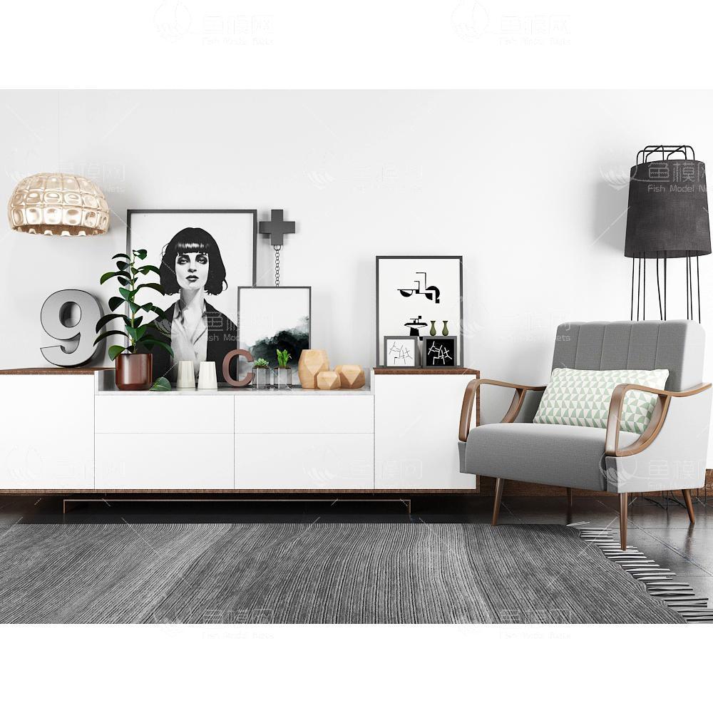 现代北欧装饰柜座椅吊灯落地灯组合3d模型