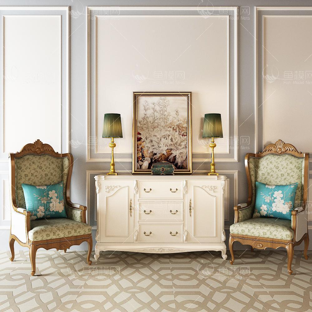 白色沙发边柜组合3d模型