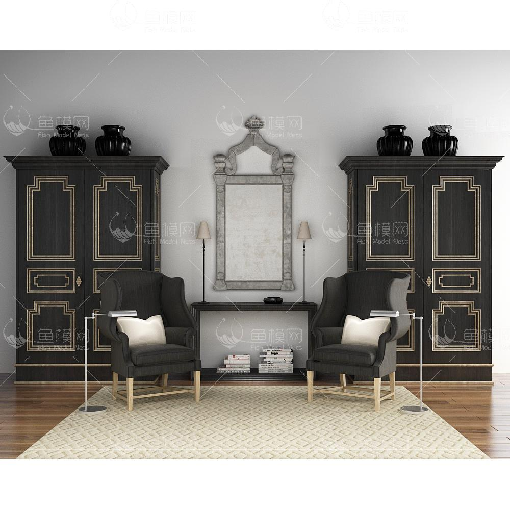 黑色立柜沙发组合3d模型
