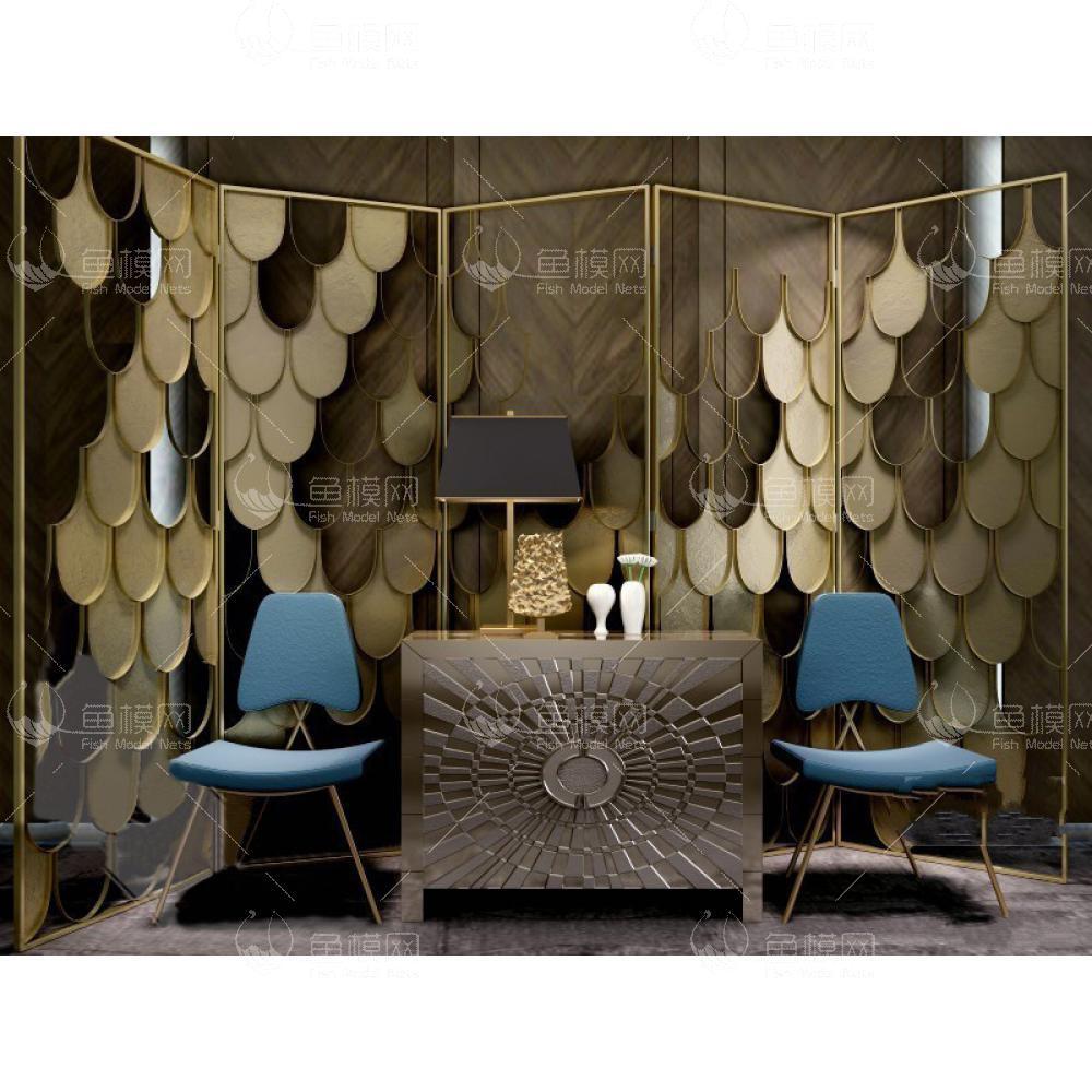 简欧奢华柜子屏风椅子组合3d模型