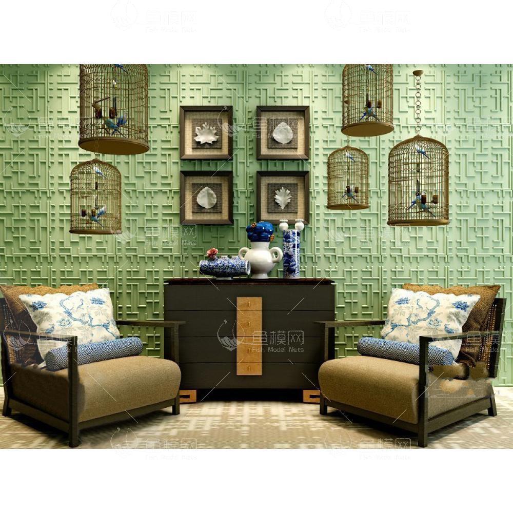 鸟笼文化墙沙发3d模型