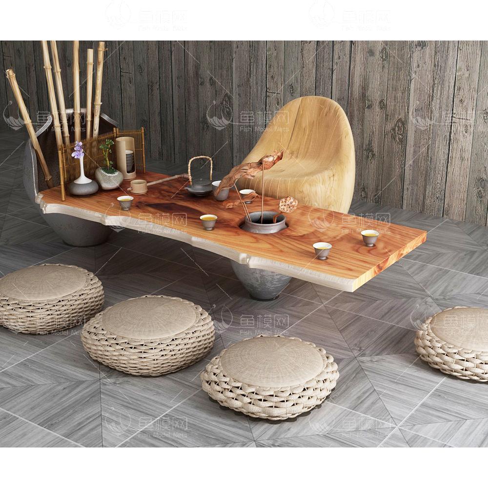 朴实创意茶艺家具组合3d模型