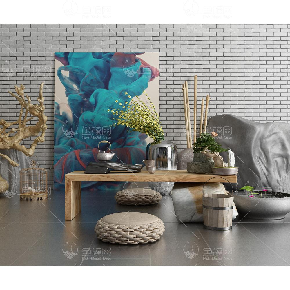 原木实木创意茶艺空间3d模型