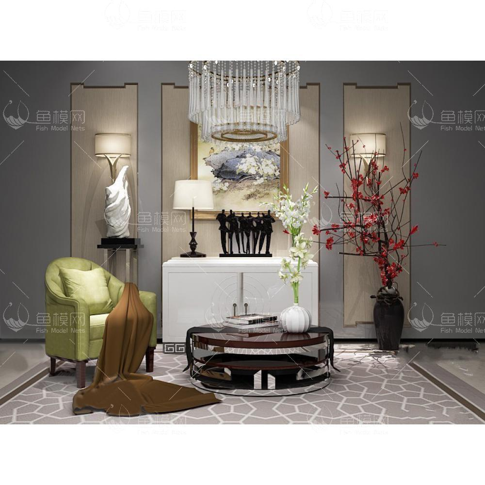 现代边柜椅子组合3d模型