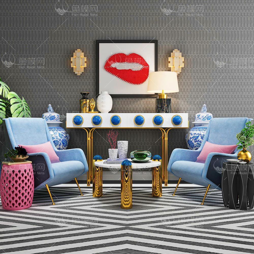 蓝色沙发椅子组合3d模型