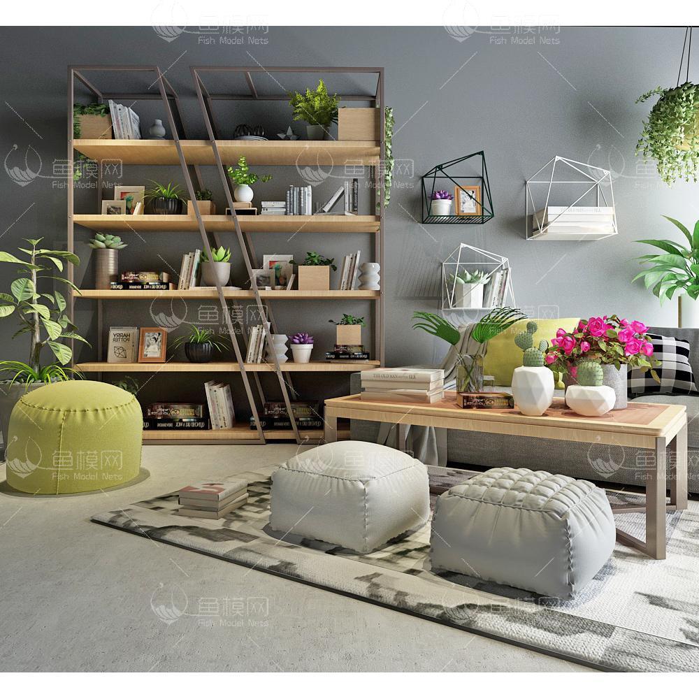 沙发边柜装饰柜组合3d模型