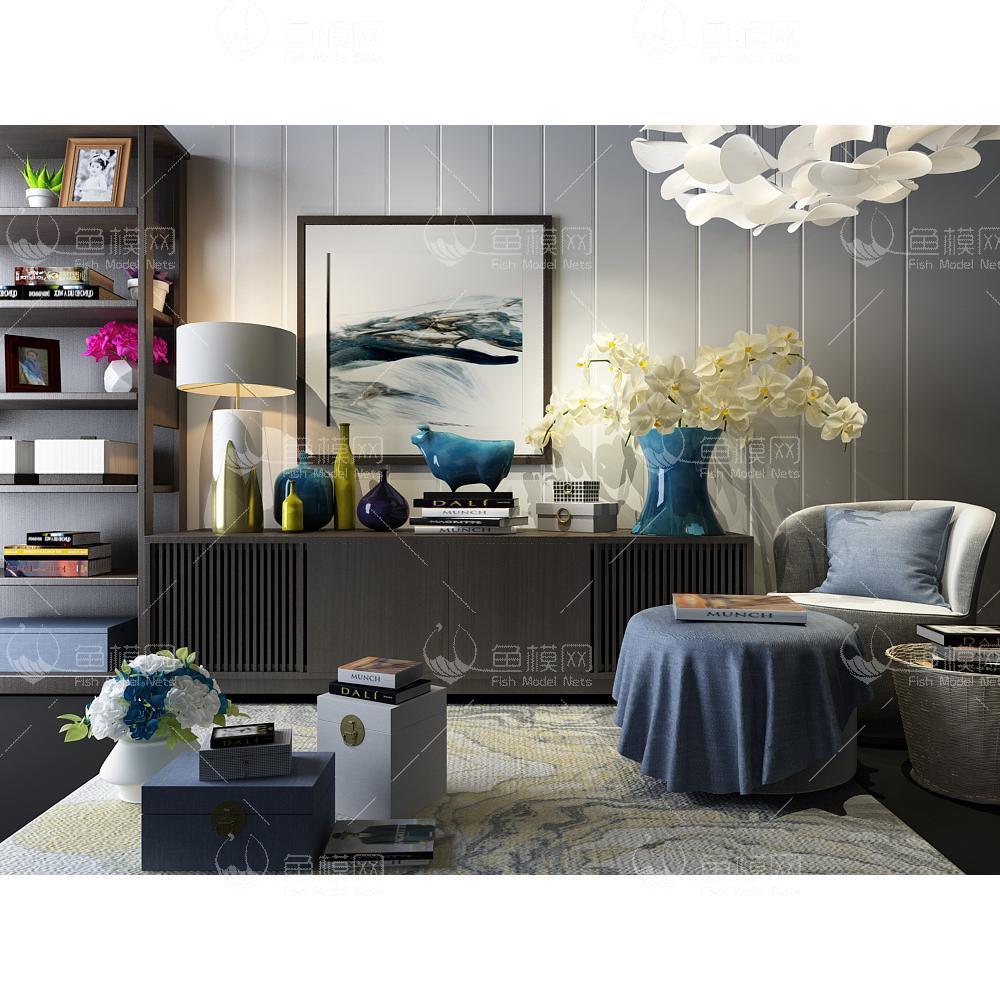 边柜柜子沙发装饰组合新中式3d模型