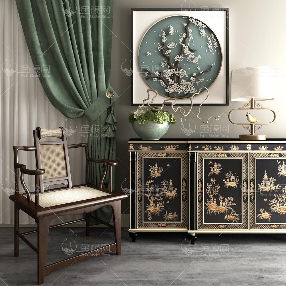 新中式黑色包金花边柜椅子组合3d模型