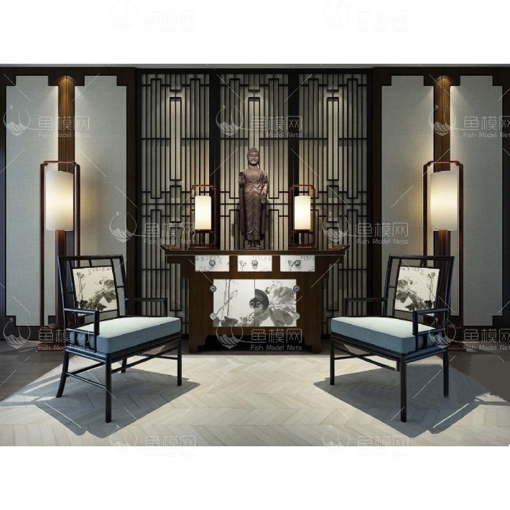 新中式玄关椅子案台组合3d模型