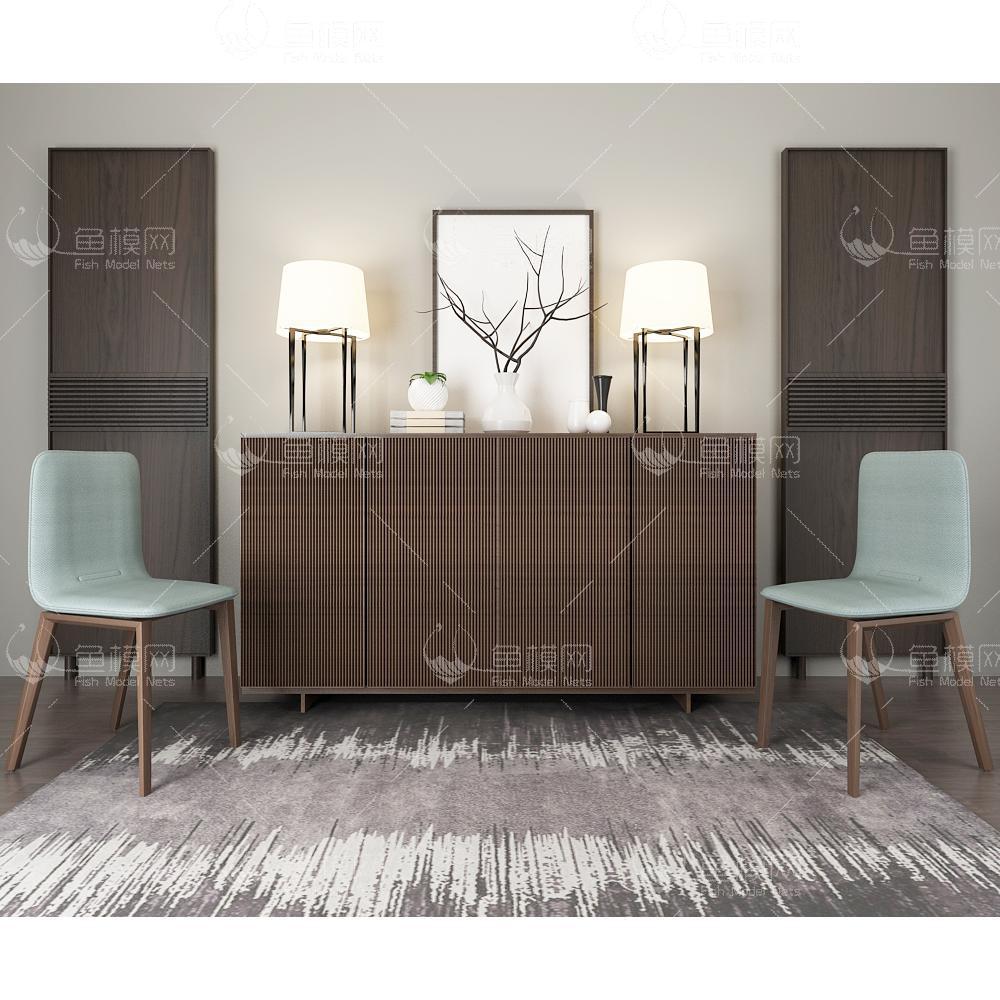 新中式边柜椅子组合3d模型