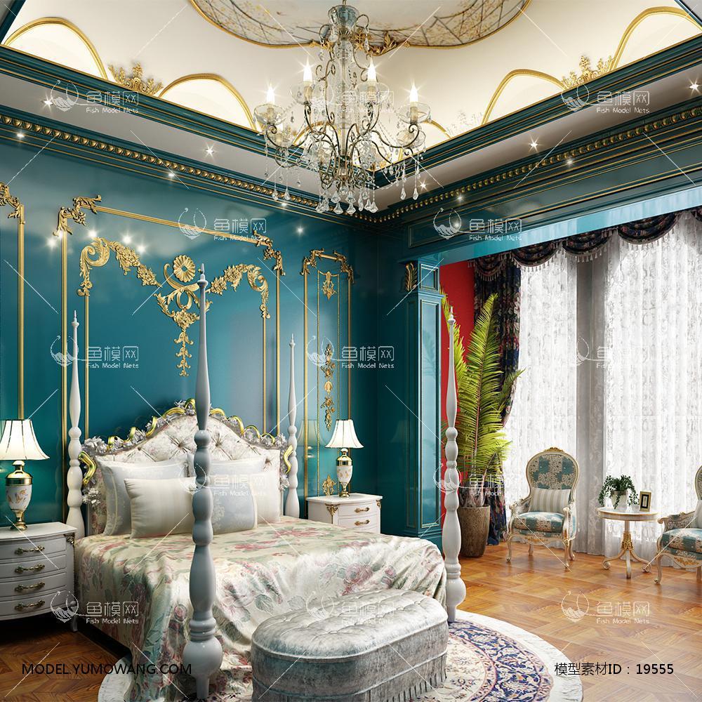 法式蓝色主卧3d模型