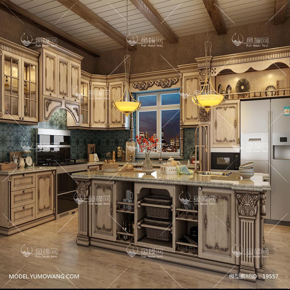 豪华深色做旧橱柜厨房3d模型