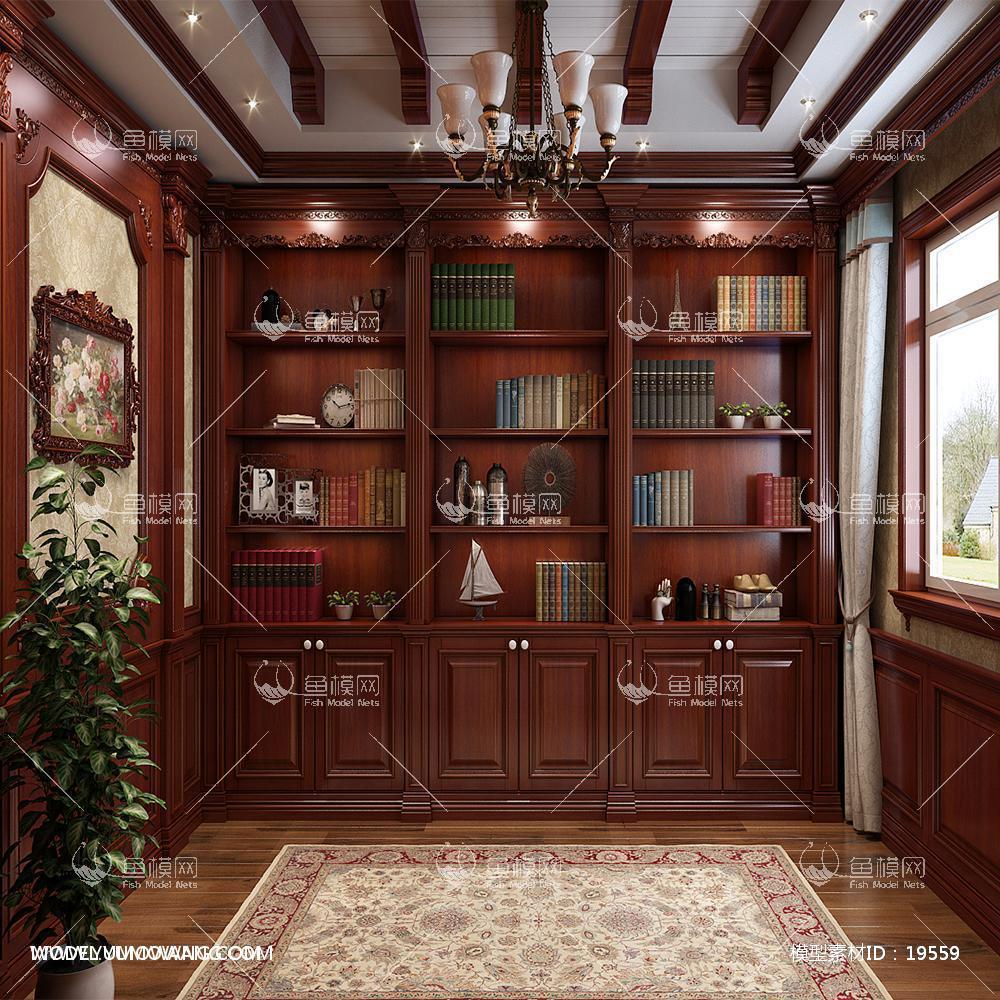欧式法式深色书房书柜3d模型