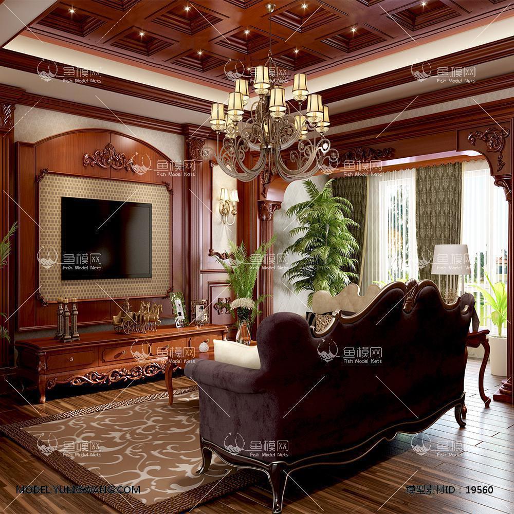 欧式深色客厅3d模型